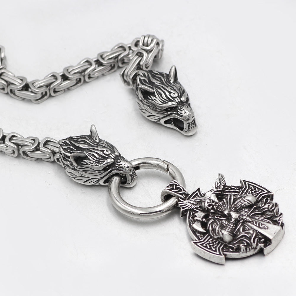 mens viking odin wolf head necklace