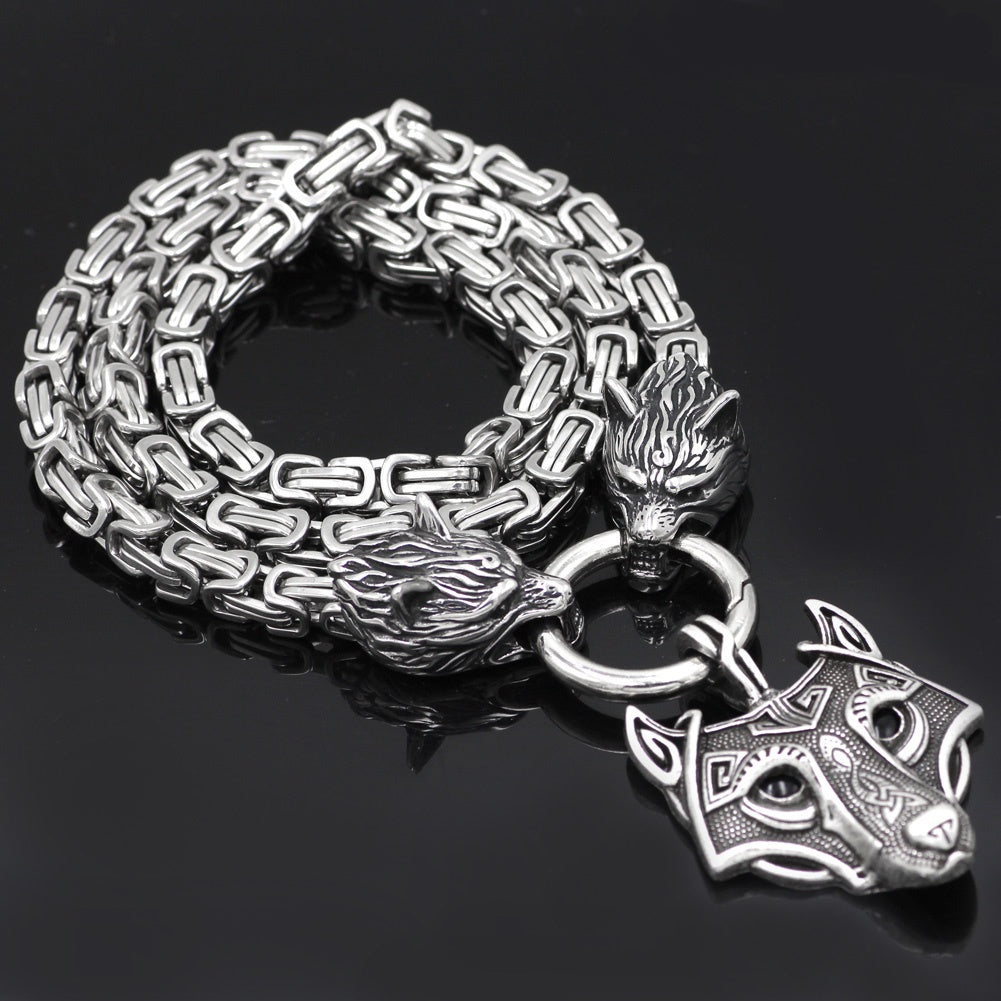 mens viking wolf head king chain necklace
