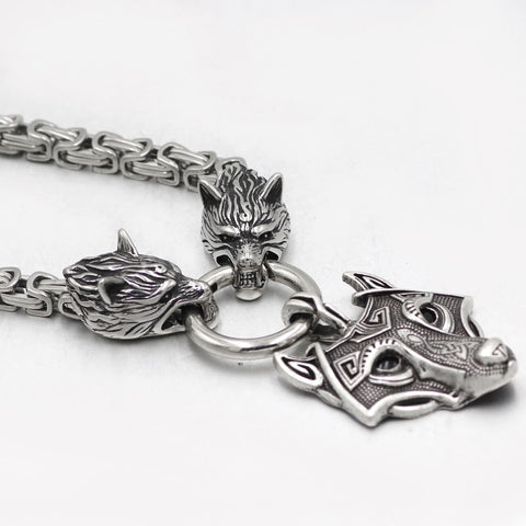 Image of mens viking wolf head king chain necklace