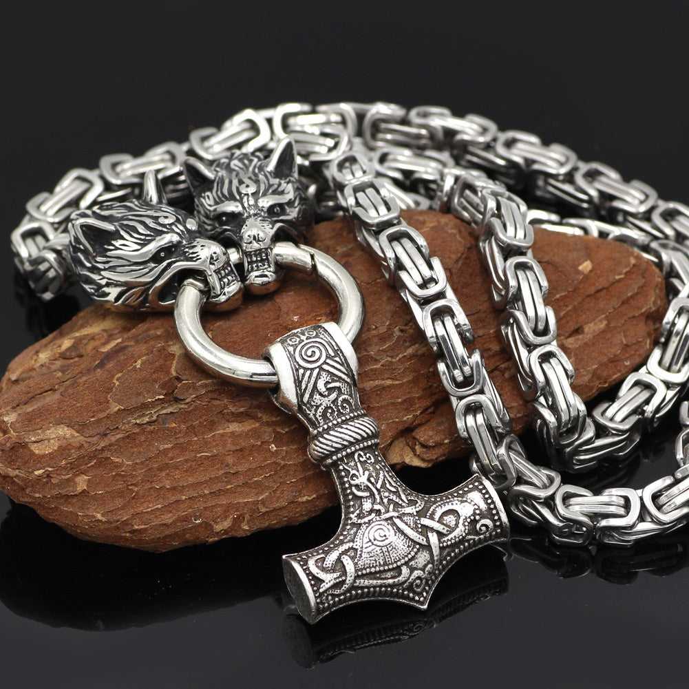 Wolf head thor hammer necklace