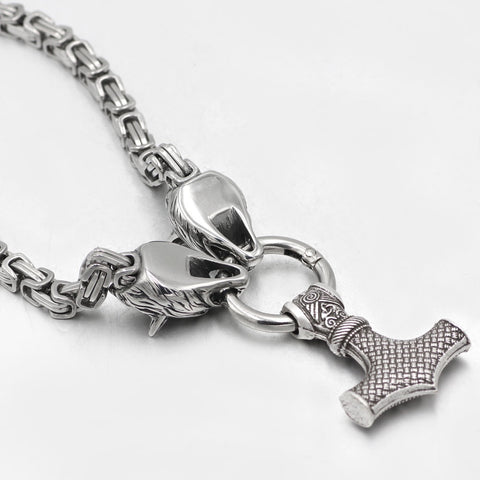Image of Wolf head thor hammer necklace
