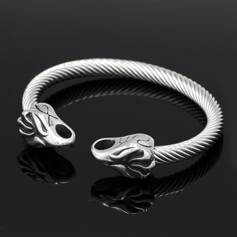 Image of norse viking wolf head bracelet