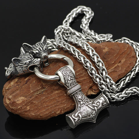 Image of wolf head Mjolnir necklace