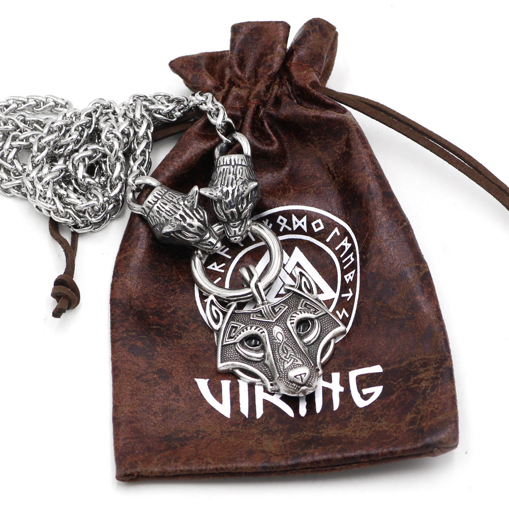 norse  wolf pendant necklace