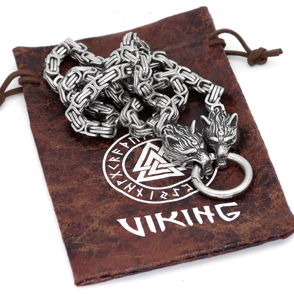 Wolf head norse viking amulet thor hammer necklace