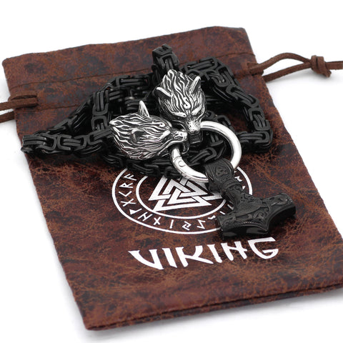 Image of Stainless Steel Wolf Head WITH Thor Hammer Necklace Viking King Chain