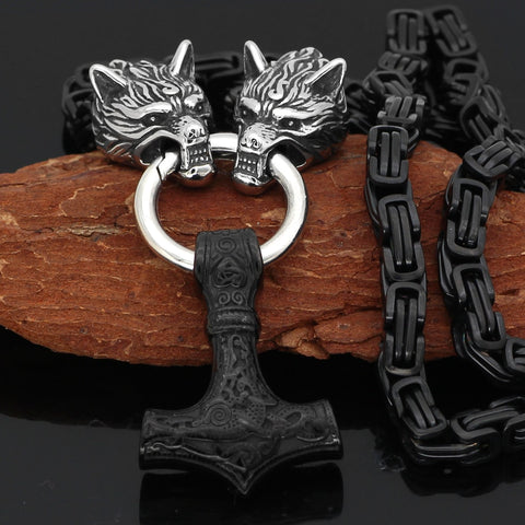 Image of Wolf Head With Mjolnir Necklace