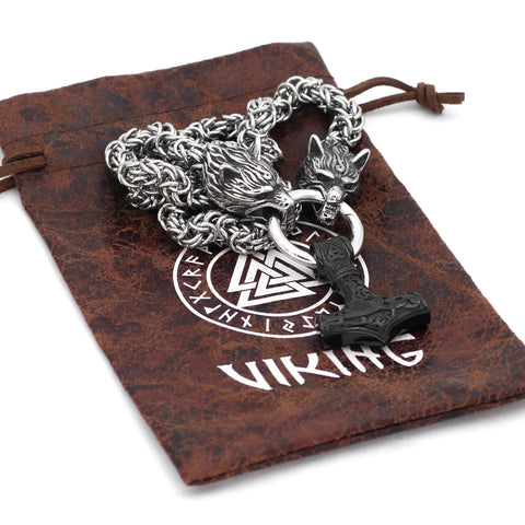 Wolf Head With Mjolnir Necklace