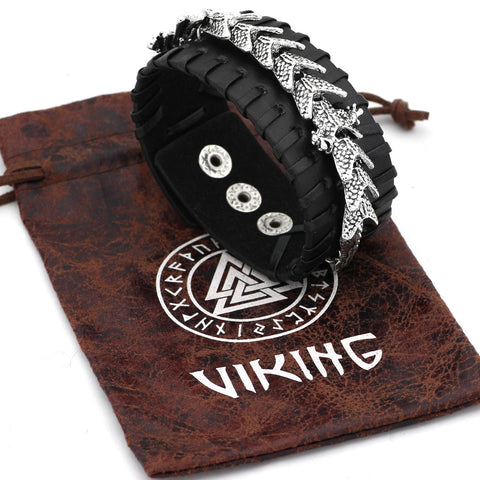Image of Scandinavian Leather Amulet Bracelet -adjustable Size 19-27 Cm