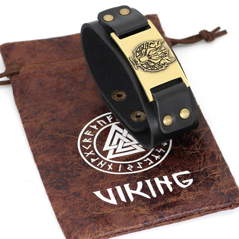 Image of wolf head leather amulet bracelet