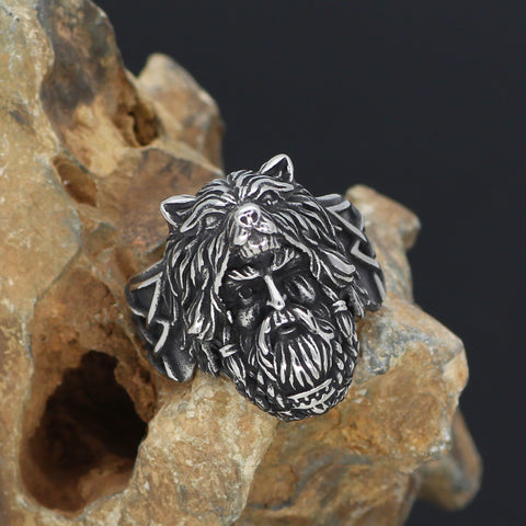 Image of odin face Worrior Amulet Stainless Steel Ring