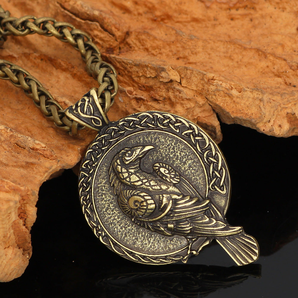 Triple Horn of Odin raven Huginn and Muninn necklace