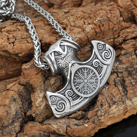 Image of vegvisir  axe  necklace