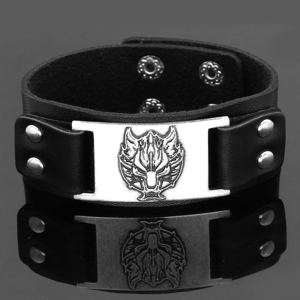 wolf head leather amulet bracelet