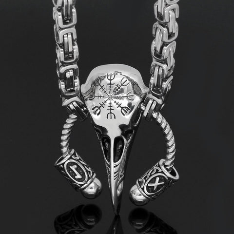 Image of raven rune helm of awe necklace