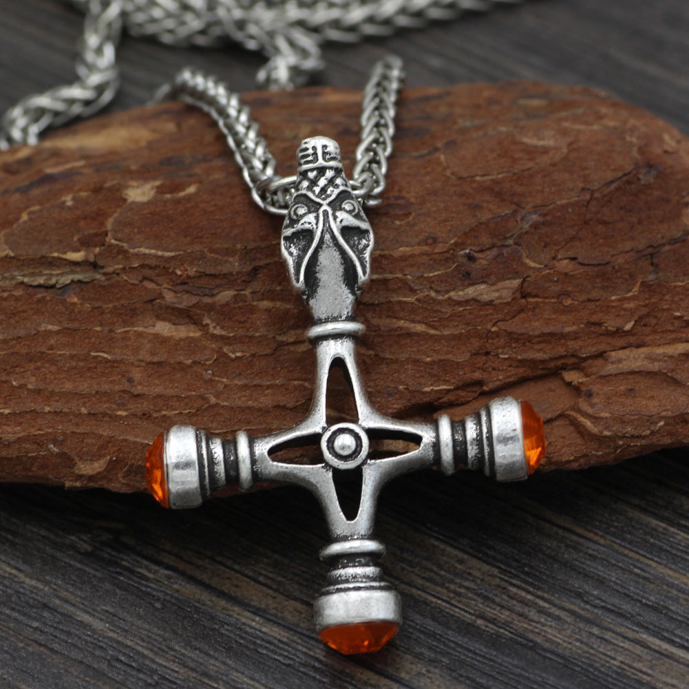 wolf head cross necklace