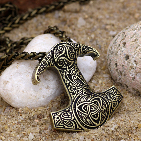 Image of Odin Raven Mjolnir Knot Necklace
