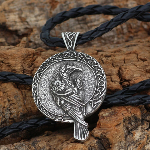 Image of Triple Horn of Odin raven Huginn and Muninn necklace