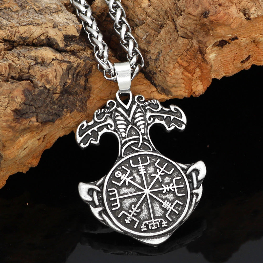 Nordic viking thor hammer Mjolni helm of awe odin symbol Scandinavian knot  amulet pendant necklace with valknut gift bag
