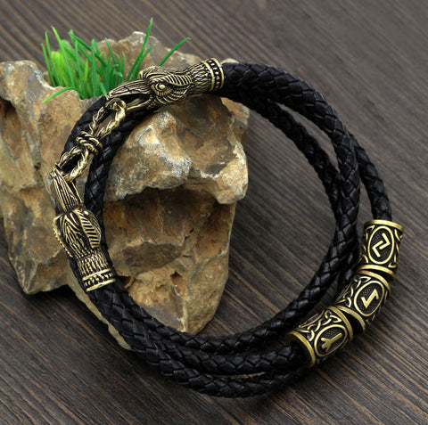 Image of norse raven leather bracelet