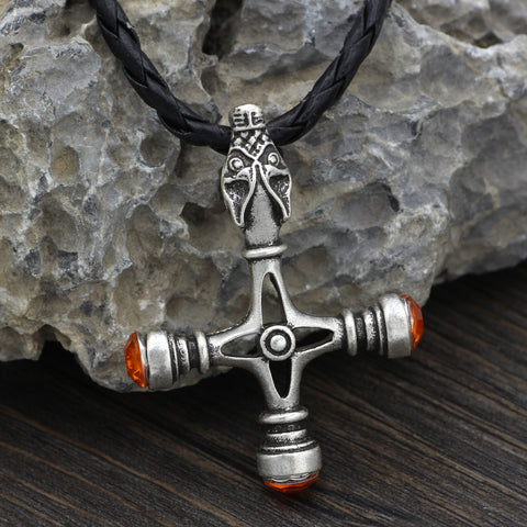 Image of wolf head cross necklace