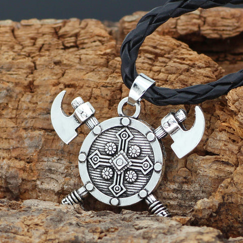 Image of axe amulet shield  necklace