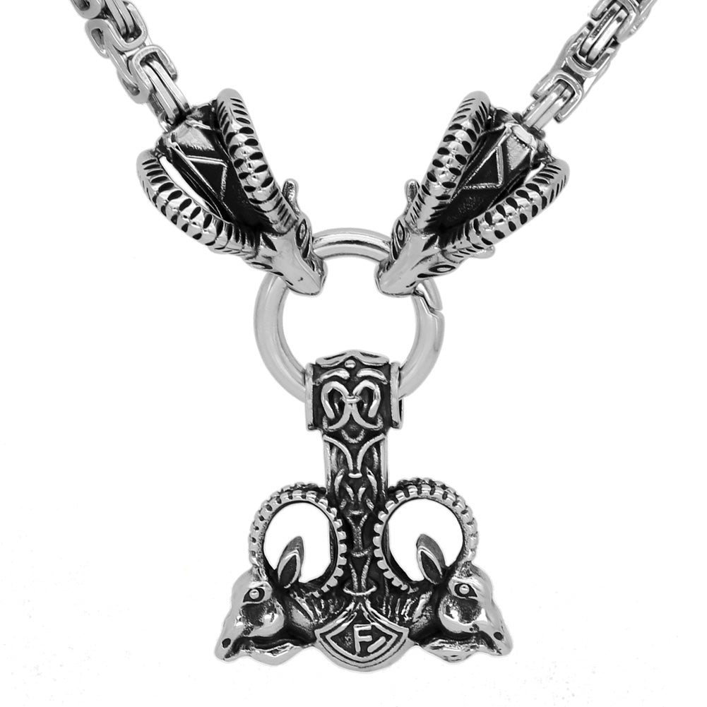 Goat With Mjolnir Necklace -King Chain