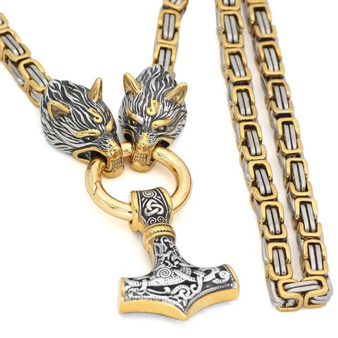 Wolf head norse viking amulet thor hammer pendant necklace viking king chain
