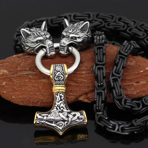 Men stainless steel Wolf head norse viking amulet thor hammer pendant necklace viking king chain