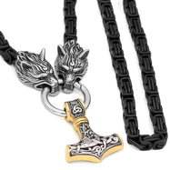 Stainless Steel Wolf Head WITH Thor Hammer Necklace Viking King Chain