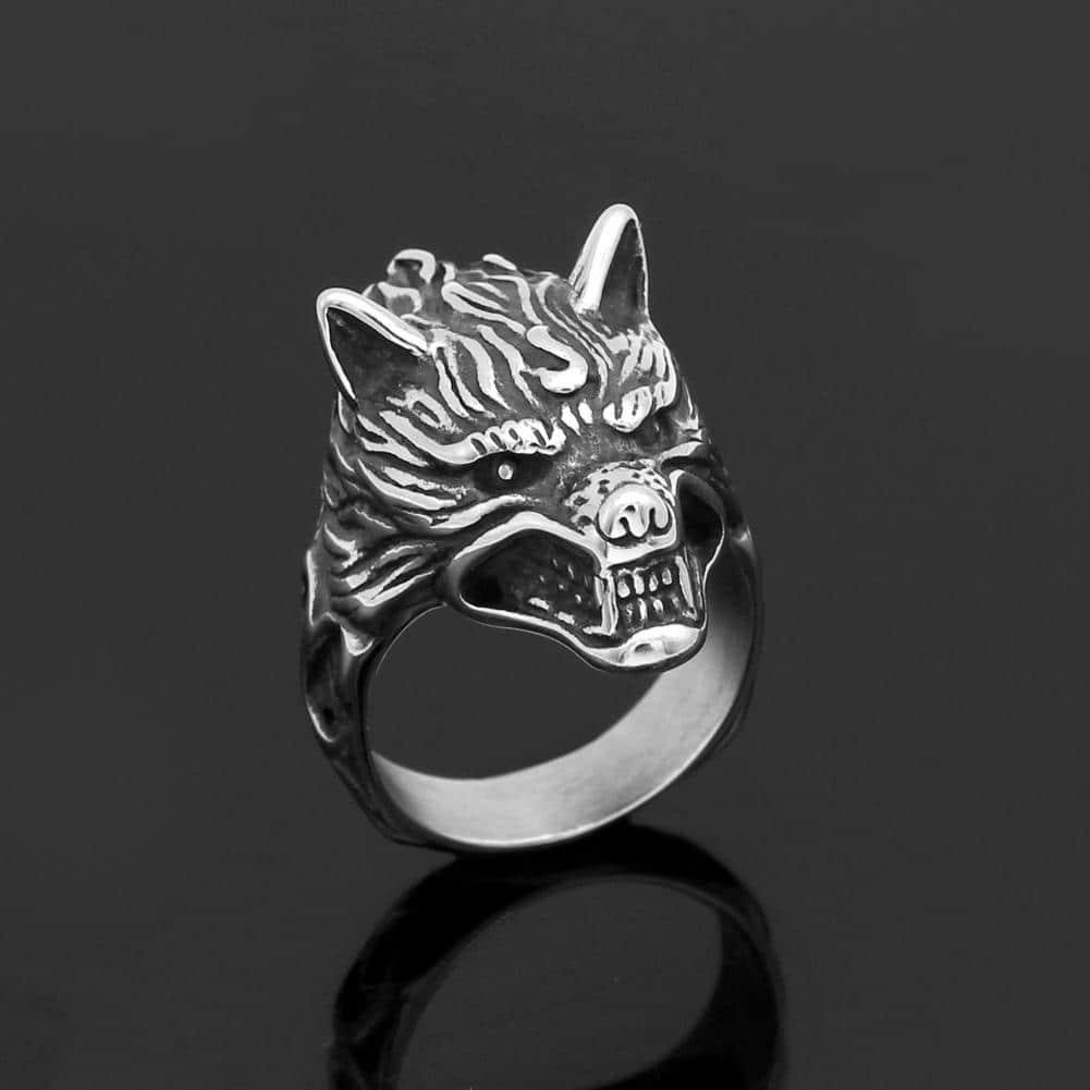 wolf amulet ring
