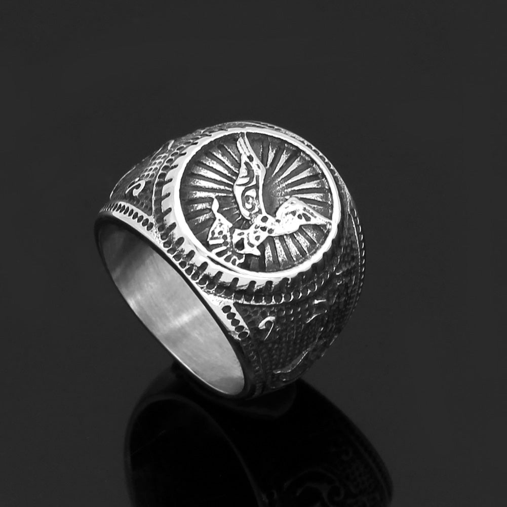 odin wolf and raven  ring