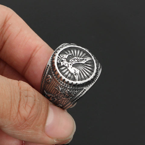 Image of odin wolf and raven  ring