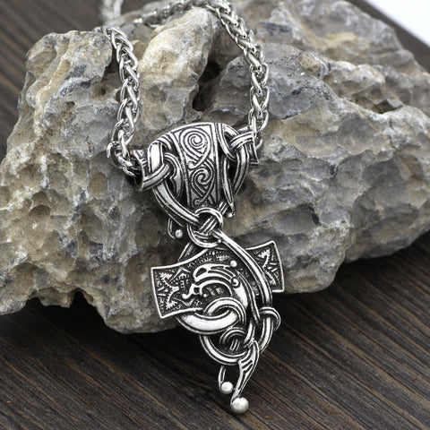 Image of mjolnir wolf  necklace