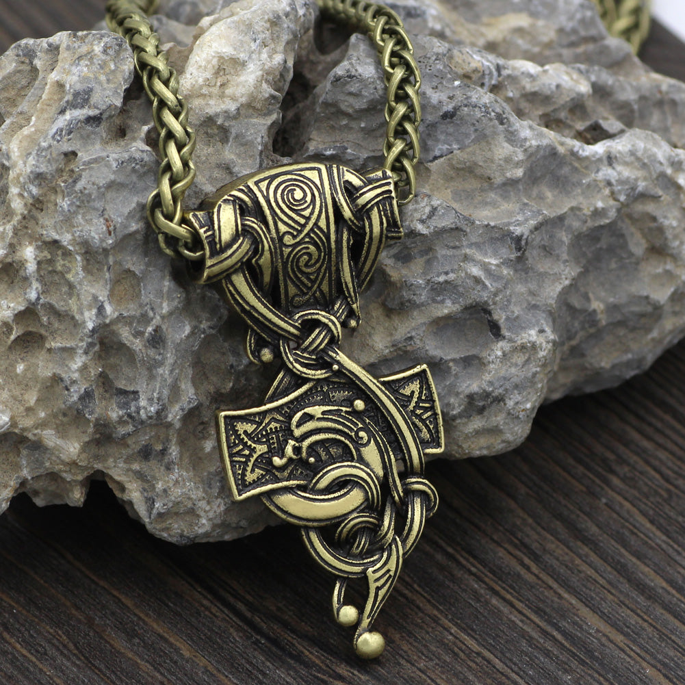 mjolnir wolf  necklace