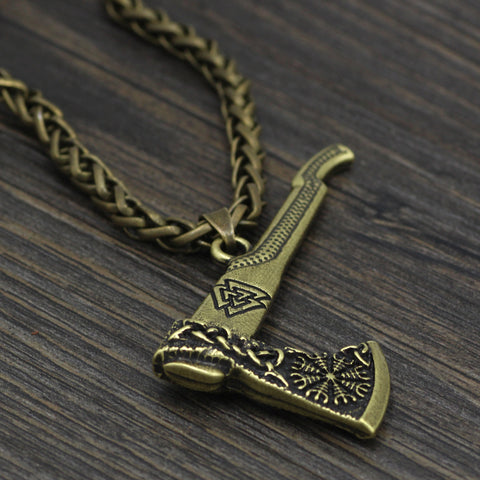Image of axe compass necklace
