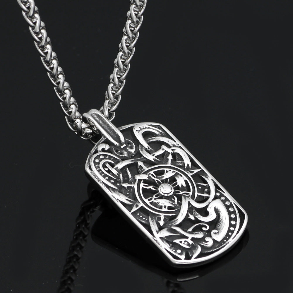 wolf amulet compass necklace