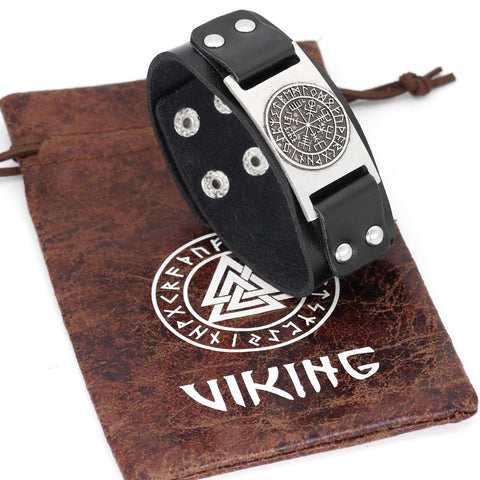 Image of Vegvisir compass rune leather bracelet