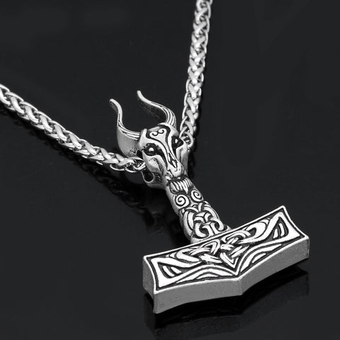 Image of goat skull  Mjolnir pendant necklace
