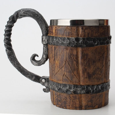 Wooden Barrel Stainless Steel Mug - 550ml