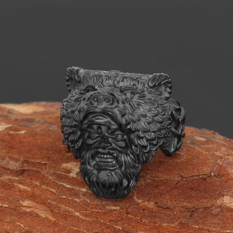 Image of Bear man  Worrior Amulet Stainless Steel Ring