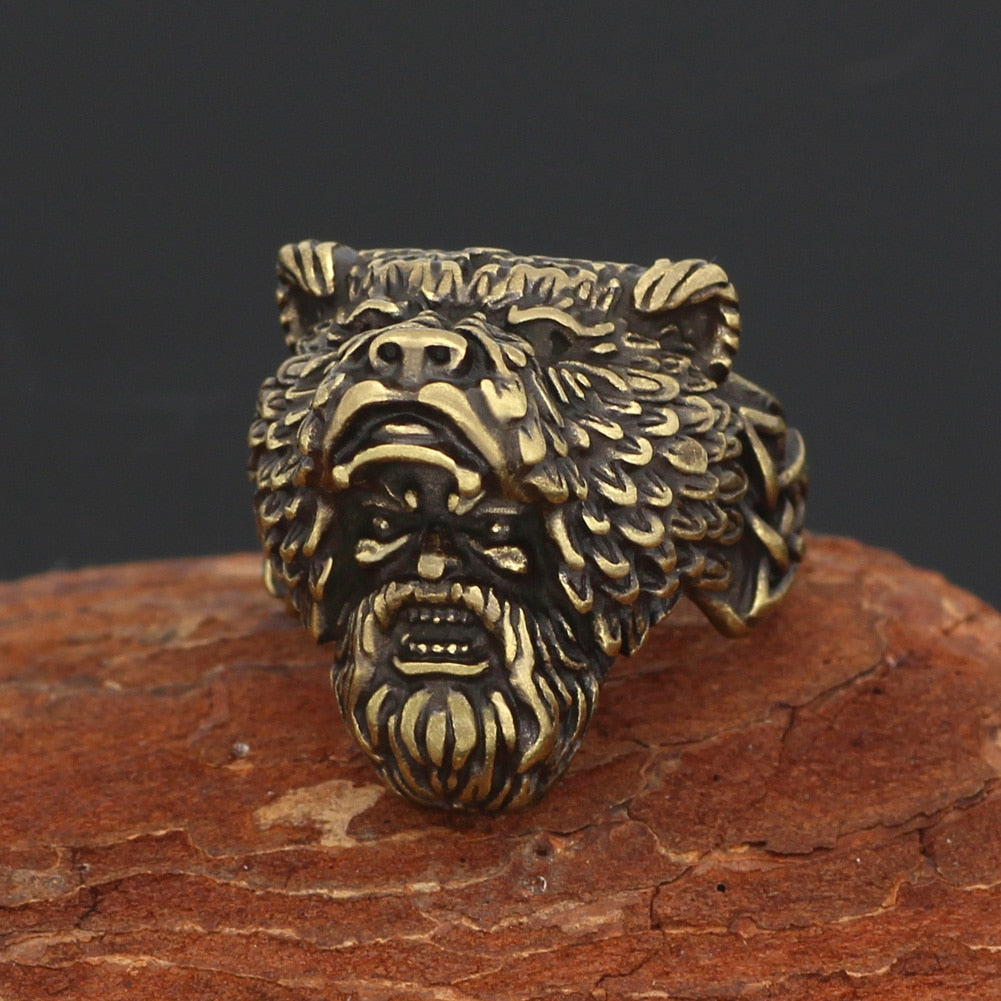 Bear man  Worrior Amulet Stainless Steel Ring