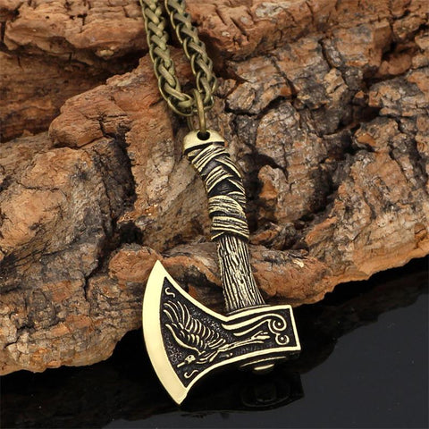 Image of Axe Necklace Wolf Raven Necklace