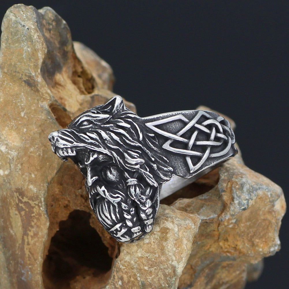 odin face Worrior Amulet Stainless Steel Ring