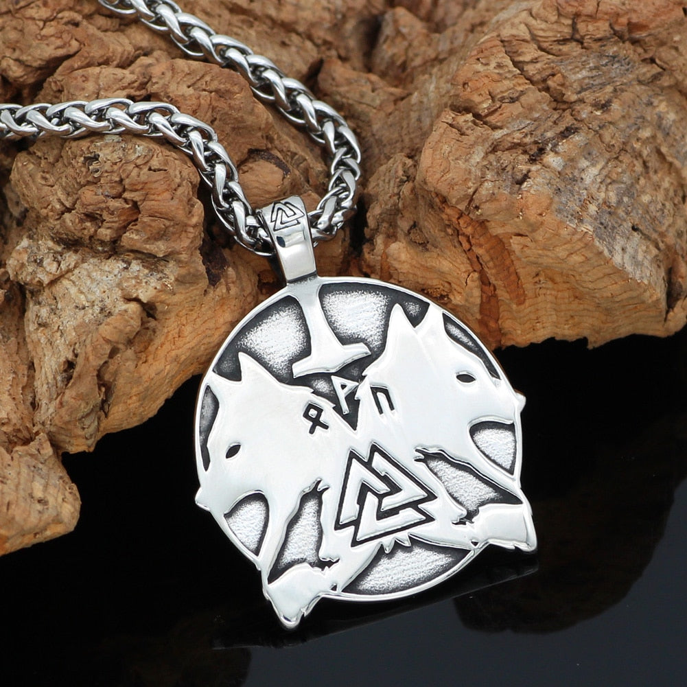Geri and Freki rune pendant necklace