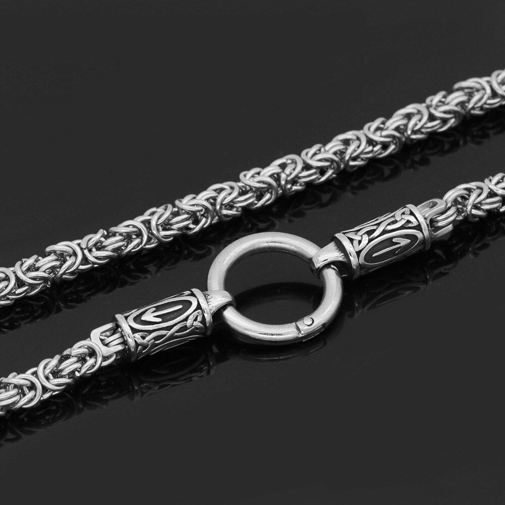 rune with thor hammer necklace stainless steel -king chain