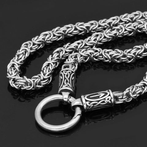 Image of rune with thor hammer necklace stainless steel -king chain