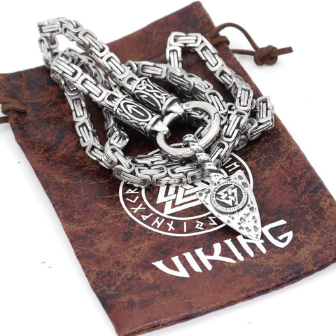 Image of Rune With Mjolnir Necklace Stainless Steel -King Chain