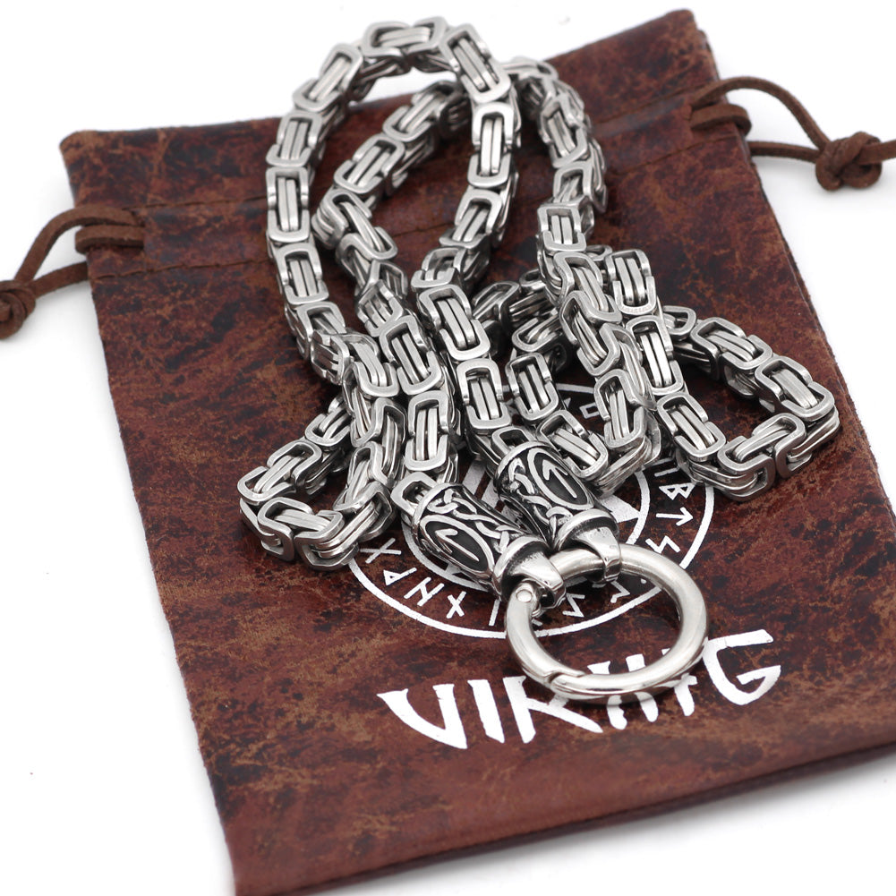 Rune With Mjolnir Necklace Stainless Steel -King Chain