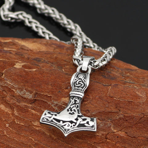 Image of Mjolnir Vegvisir  necklace